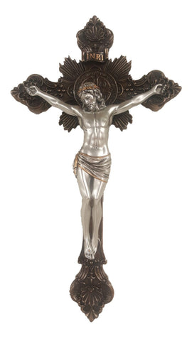 Saint Benedict Bronze With Pewter Corpus Catholic Wall Crucifix