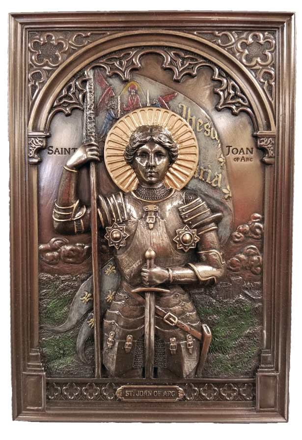 Joan of Arc Wall Plaque - beautiful bronze color