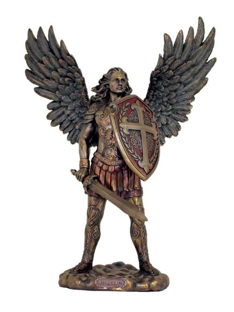 Bronze saint Michael statue without devil