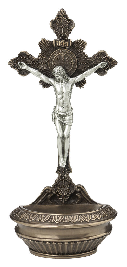 Jesus Crucifix Holy Water Font For Table or Wall Use With Pewter Color Corpus