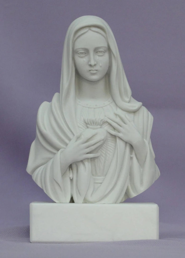 "Immaculate Heart of Mary / Our Lady of Sorrows bust in white alabaster and resin with a white alabaster base, 5"". Made in Italy."