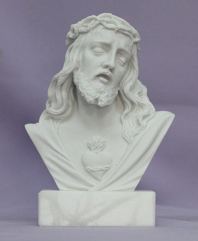 Jesus Crowned With Thorns Alabaster Bust Statue - Italy