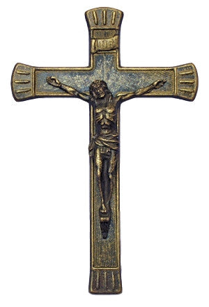 Antiqued Brass Wall Crucifix Italy