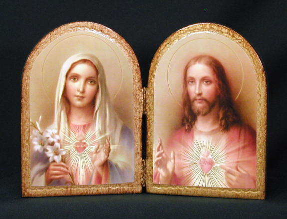 Beautiful catholic image of the Sacred Heart of Jesus and Immaculate Heart of Mary Florentine Diptych