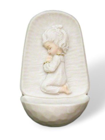 Praying Little Girl Alabaster Cross Holy Water Font   Italy