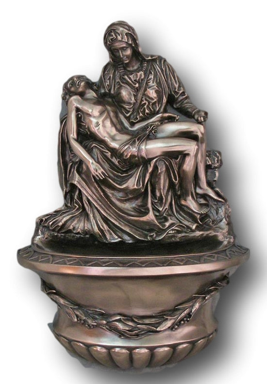 Pieta Holy Water Font For Church Or Home Bronze Style Veronese Collection