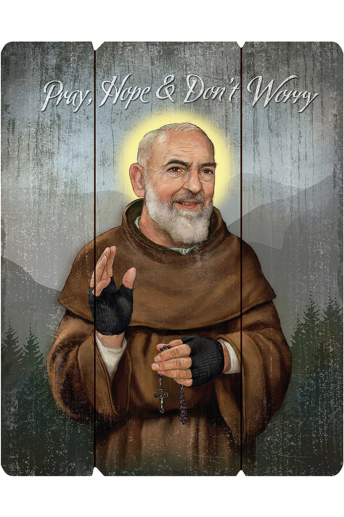 Saint Pio Padre Wooden Wall Plaque