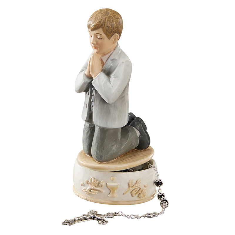 First Communion Praying Boy Rosary Keepsake Box