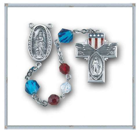 Red White And Blue Patriotic White Opal and Blue Swarovski Crystal Military Rosary