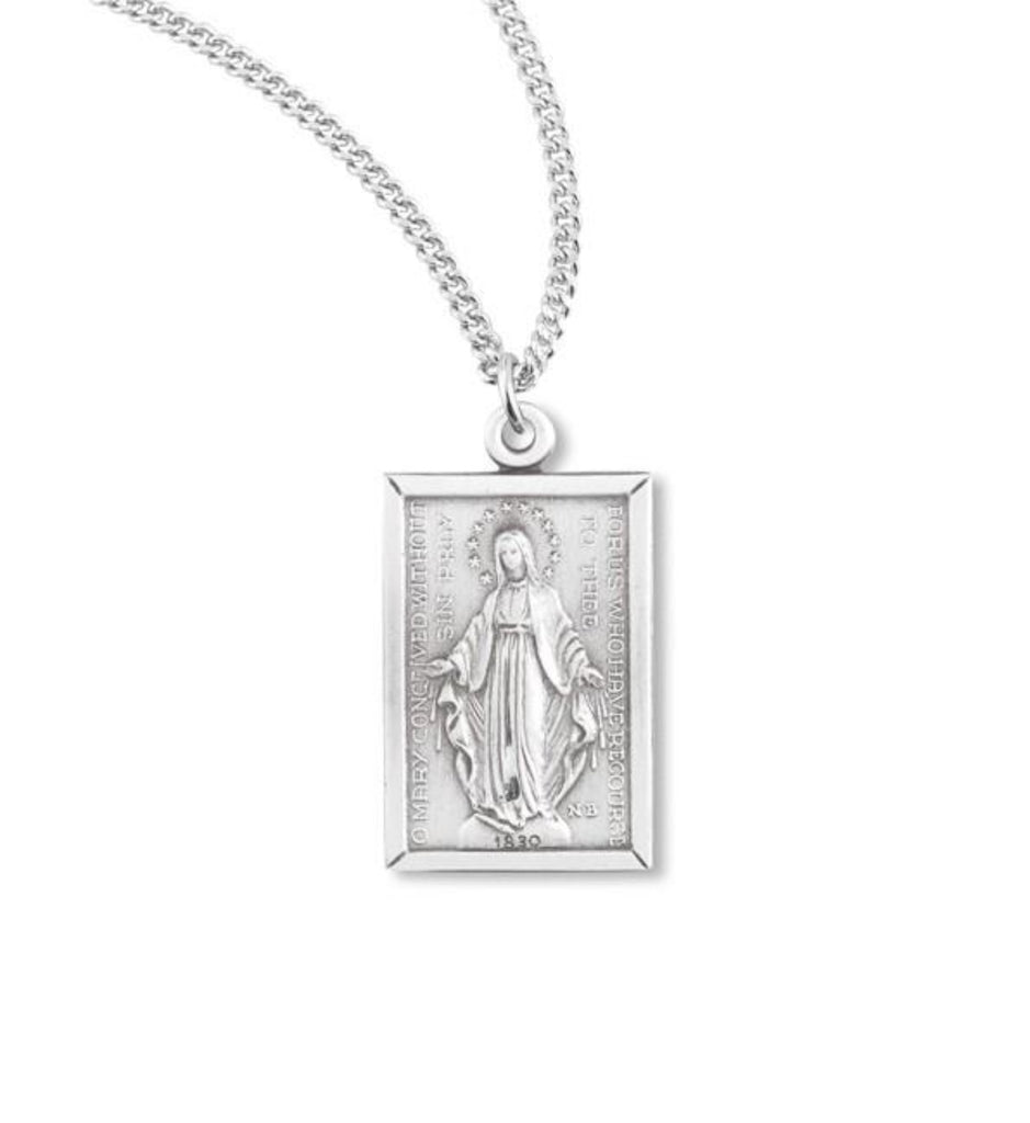 Sterling Silver Rectangular Miraculous Medal