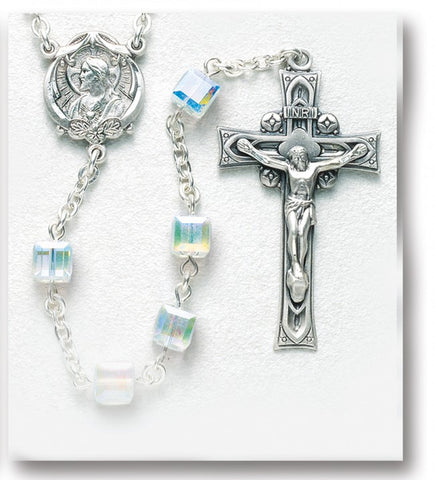Aurora Faceted Cube Sterling Silver Rosary Hand Made In USA Special Occasion Rosary