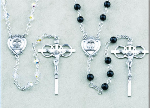 Bride And Groom Swarovski Crystal Bead and Onyx Bead Wedding Rosary Set