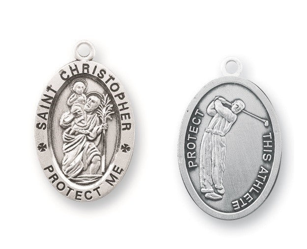Saint Christopher sterling silver medal on chain Golf gift