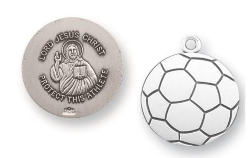 Sterling Silver Jesus Protection Soccer Medal On Chain