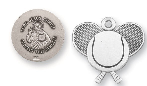 Sterling Silver Jesus Protection Tennis Medal Pendant