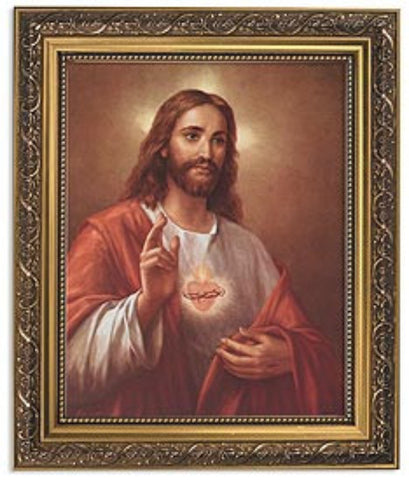 Sacred Heart Of Jesus Print In Ornate Gold Frame By artist La Fuente