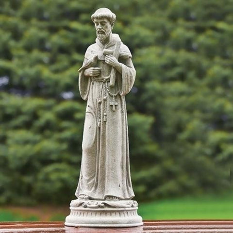 "Saint Francis With Cross Garden Statue 24"" Tall"