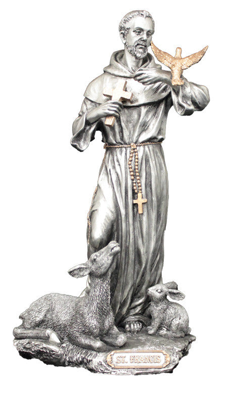Saint Francis With Animals Statue Pewter Style With Gold Accents Veronese Collection