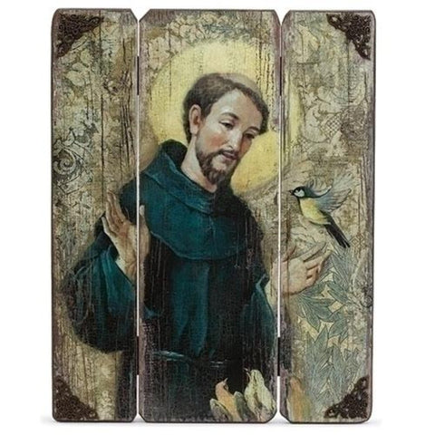 Saint Francis With Bird Wooden Panel