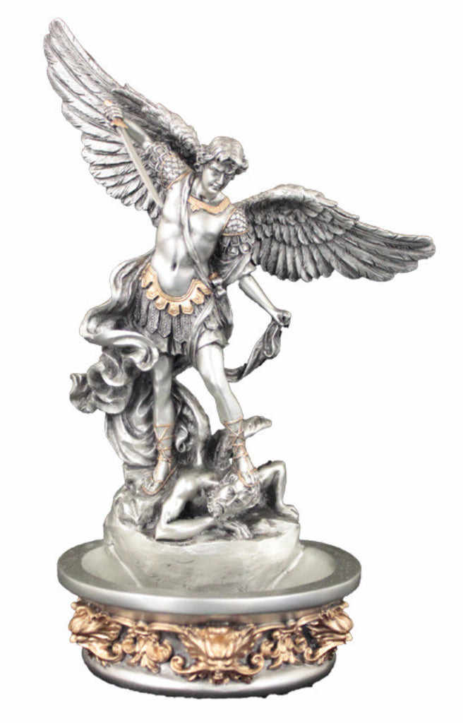 Saint Michael Holy Water Font For Table Or Wall Pewter Style with Gold Highlights Veronese Collection