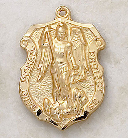 Saint Michael Shield of Protection Medal 22kt. Gold Over Sterling Silver