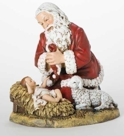 Adoring Santa With Baby Jesus And Lamb  Joseph Studio Large 13 Inch