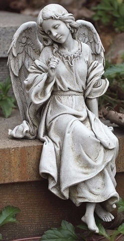 Seated Garden Memorial  Angel Facing Left