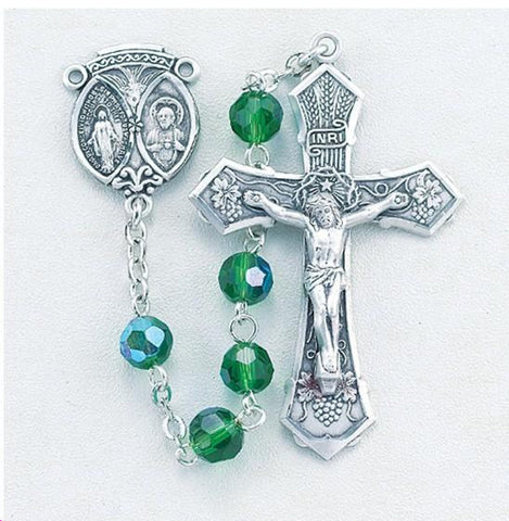 Emerald Aurora Crystal Tin Cut Rosary
