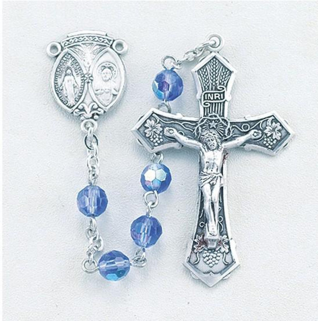 terling Silver rosary made with 6mm tin cut crystal sapphire aurora bead rosary