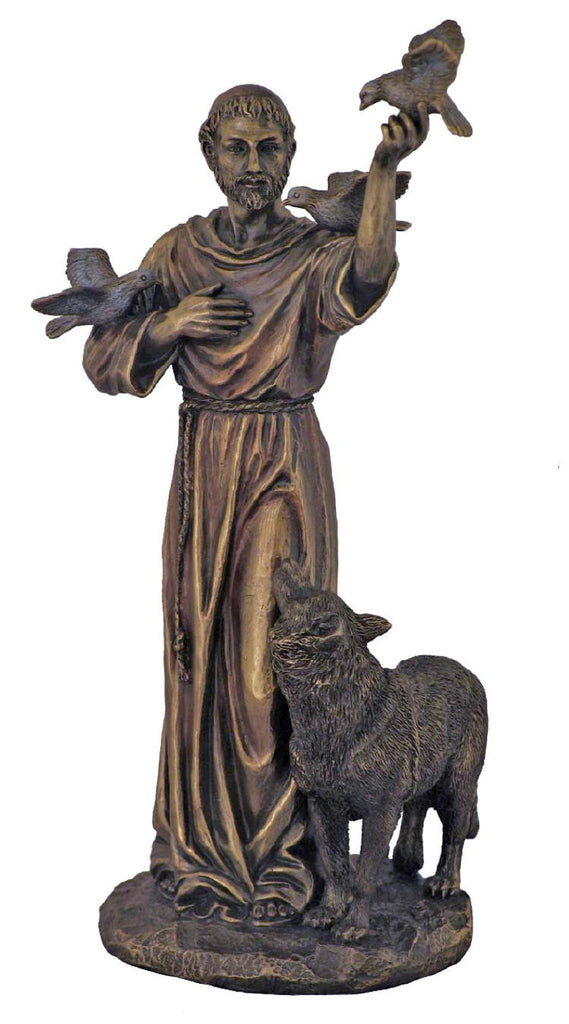 Saint Francis With Wolf Statue  Veronese Collection 10.5 Tall