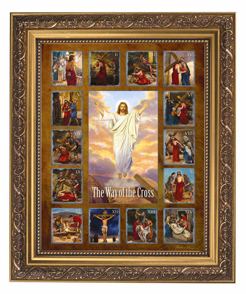 Jesus Stations Of Cross Print In Ornate Gold Frame