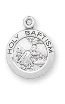 Holy Baptism sterling silver medal on chain round style