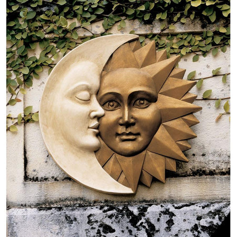 Celestial Harmony Sun And Moon Wall Plaque Home Or Garden