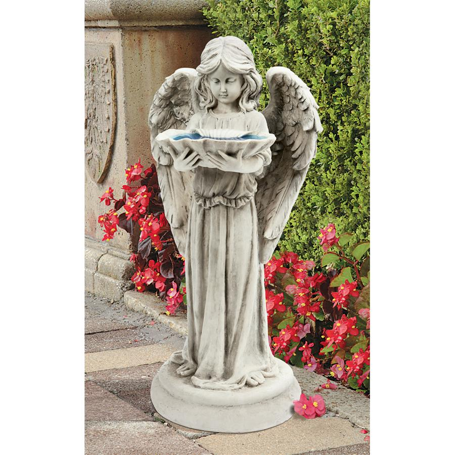 Tranquil angel garden statue bird bath