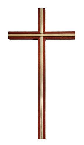 Walnut Wall Chapel Cross With Gold Plated Inlay Accent 10""