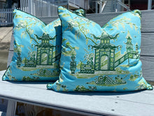 Load image into Gallery viewer, 22x22 PAIR - Waverly Baby Blue and Kelly Green