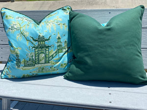 22x22 PAIR - Waverly Baby Blue and Kelly Green