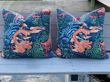 Load image into Gallery viewer, 22x22 PAIR - Navy Dragon Vern Yip Pillow Covers