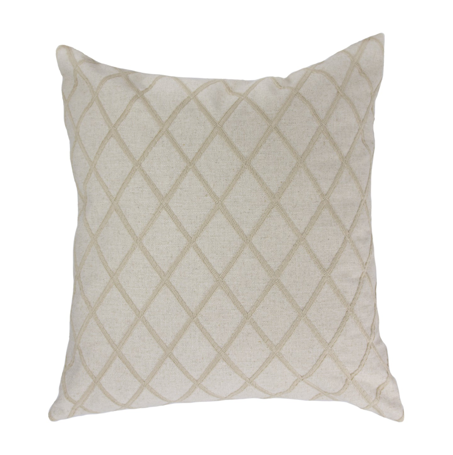 24x24 & 22x22 - Beige Woven w/Embroidered Diamonds Pillow Cover