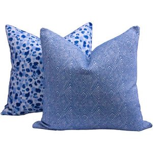 22x22 - PAIR Kelly Ripa Pillow Covers Chit Chat Blue