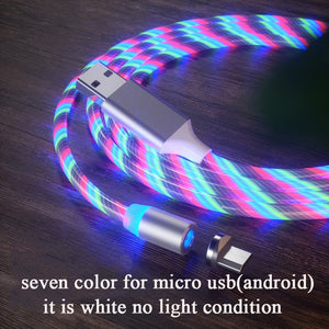 Magnetic LED Flowing Charging Cable [Micro USB, Type C, for Iphone]