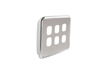 Light Switch Cover - 6 Gang - Brushed Stainless