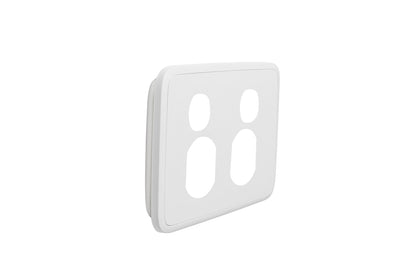 Double Powerpoint Cover Plate - White Basic