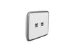 USB Charger - 2 Gang Double with Silver White Cover