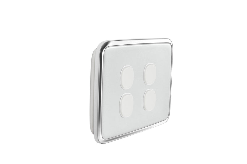 Clipsal Classic 4 Gang Push Button Light Switch With Ghost Grey Cover