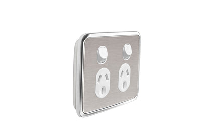 Double Powerpoint Cover Plate - Brushed Stainless Steel