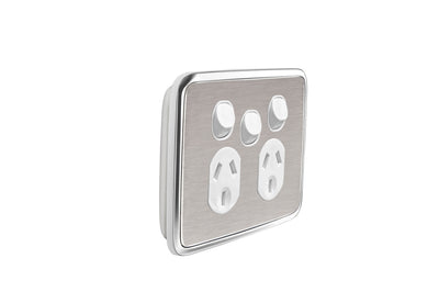 Double Powerpoint Cover w Extra Switch  - Brushed Stainless Steel