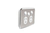 Clipsal Classic Double Powerpoint - Extra Switch and Brushed Stainless Steel Cover