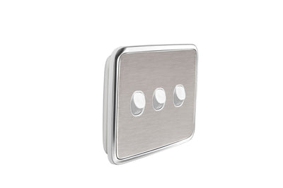Light Switch Cover - 3 Gang - Brushed Stainless