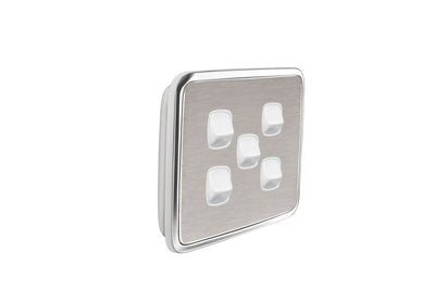 Light Switch Cover - 5 Gang - Brushed Stainless